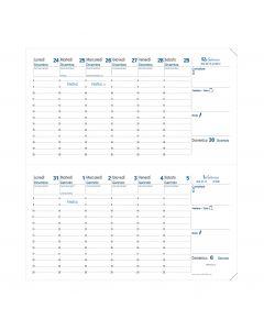 Einlagen für Terminkalender 2 Wochen auf 2 Seiten Einlagen